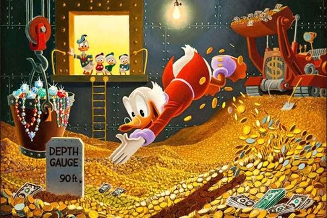 Scrooge McDuck diving into a pile of venture capital.